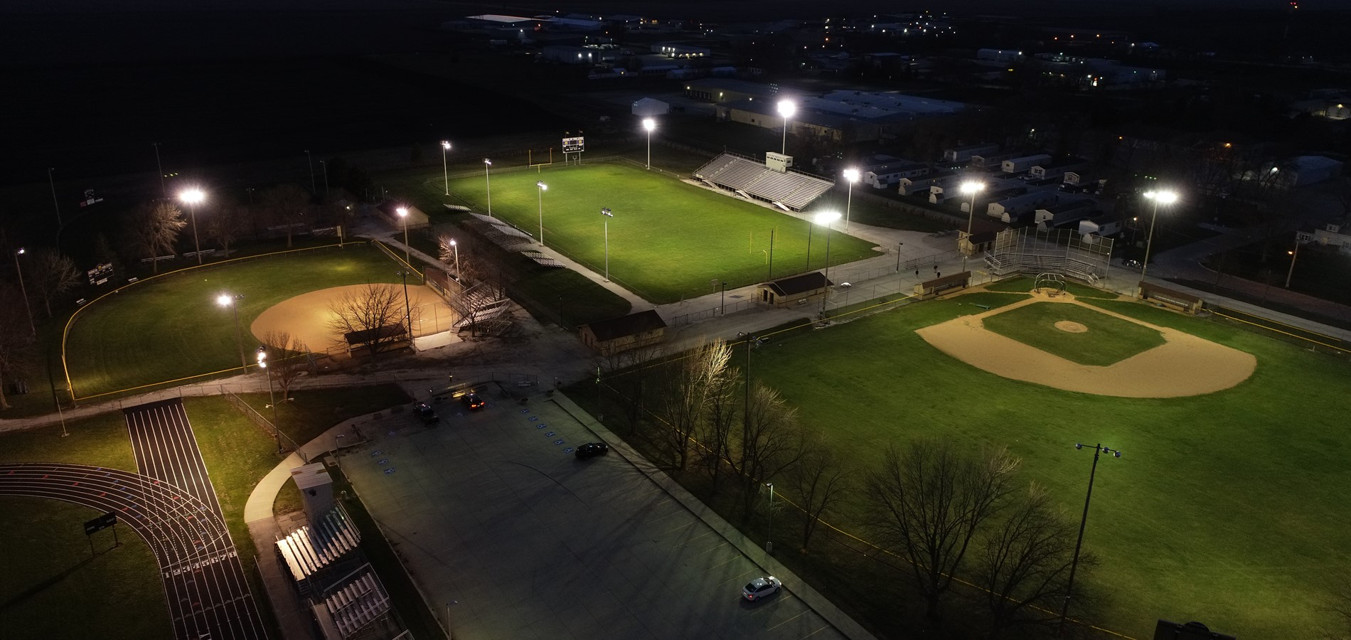 Picture of the Lynx Fields lite up at night